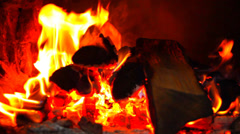 Bright burning wood, campfire macro video Stock Footage