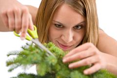 Gardening - woman trimming spruce tree - stock photo