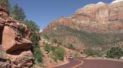Zion National Park road traffic beautiful mountains HD Stock Footage