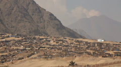Huts in the desert near Trujillo in Peru Stock Footage