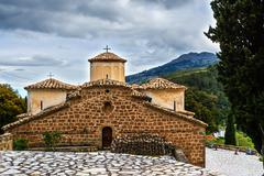 Old byzantine church at greece Stock Photos