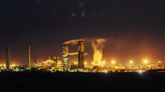 4K. Ammonia production plant timelapse in night time Stock Footage