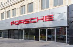 Porsche automobile dealership sign Stock Photos