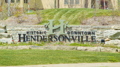 Welcome to Historic Downtown Hendersonville, NC Stock Footage