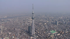 Aerial Tokyo Skytree broadcasting Tower Sumida River Japan Stock Footage