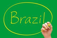 Brazil handwriting yellow marker Stock Illustration