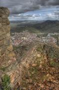 town of feria from one ruined battlement of the castle - stock photo