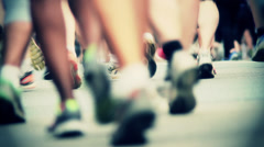 Marathon Runners Crowd  13 Stock Footage