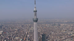 Aerial Tokyo Skytree observation Tower skyline Sumida Japan Stock Footage