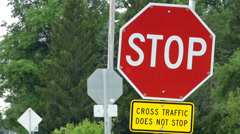 Blinking stop sign Stock Footage