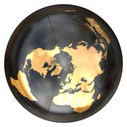 Worldmap in azimuthal projection ( North Pole) - stock illustration