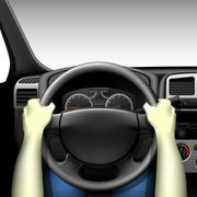 Car driver - car interior with dashboard and hands of driver, made with gradi Stock Illustration