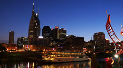 Night Shot Downtown Nashville General Jackson Riverboat UHD Stock Footage