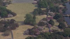 Aerial Hanami Shinjuku Gyoen National Garden Cherry Blossom Tokyo Stock Footage