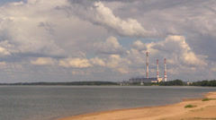 Water-power plant. Volga River, Russia. Stock Footage