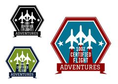 Flight adventures emblem or label Stock Illustration