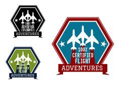 flight adventures emblem or label - stock illustration