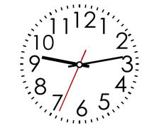 Round clock face with arabic numerals Stock Illustration