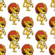 lion with a cheesy toothy grin seamless pattern - stock illustration