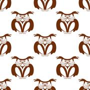 wise old owl seamless background pattern - stock illustration