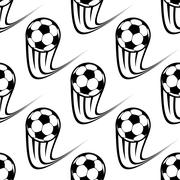 seamless pattern of speeding soccer balls - stock illustration