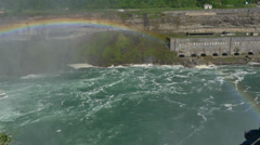 4K Niagara Falls Tourboat Pan Left with Rainbow Stock Footage