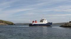 MV Bigga departing Gutcher Yell, Shetland, Scotland - stock footage