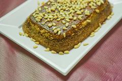 pine nut pie - stock photo