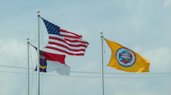 Hendersonville,  North Carolina and American Flags Stock Footage