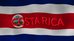 Costa Rica Flag and Text, Textile Background Stock Footage