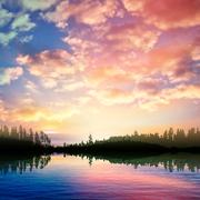 abstract nature background with sunrise on forest lake and clouds - stock illustration