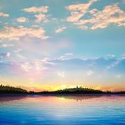 Stock Illustration of abstract sunset background with forest lake