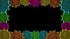 3D PRINTING COLORFUL COGWHEEL MODELS FRAME. ALPHA MATTE. Stock Footage