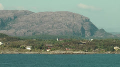 North Europe Norway City of Bergen 080 parallel move along the rugged coast Stock Footage