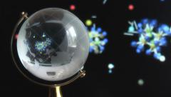 Globe on background of the formation of molecules Stock Footage