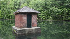 Old pump house in pond Stock Footage