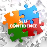 Self Confidence on Multicolor Puzzle. - stock illustration