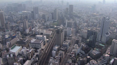 Aerial Rail Station Marunouchi district Shinkansen Expressway Japan Stock Footage
