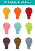 Flat lightbulb stickers Stock Illustration