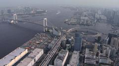Aerial Odaiba Rainbow Suspension Bridge Tokyo Bay Japan Stock Footage