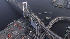 Aerial overhead Rainbow Bridge Tokyo Bay Japan Asia Stock Footage