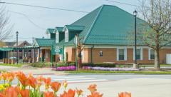 Hendersonville, NC Visitors Center with Tulips in Spring Stock Footage