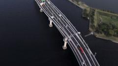 Aerial overhead Tokyo City Bay Shuto Expressway No 11 Japan Stock Footage