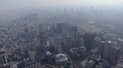 Aerial Tokyo pollution Rail Station Marunouchi Chiyoda Japan Stock Footage