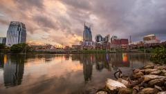 Time Lapse - Nashville Sunset at River Front Stock Footage