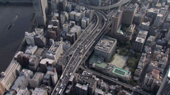 Stock Video Footage of Aerial Sumida River bridges Tokyo city Expressway Japan
