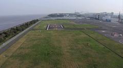 Aerial helicopter landing Tokyo Nagareyama Heliport flight Japan Stock Footage