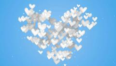 White Love Shape Particles blue background Stock Footage
