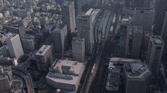 Aerial Metropolis Tokyo National Rail Station TGV Japan - stock footage