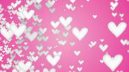 Stock Video Footage of White Love Shape Particles looping pink background